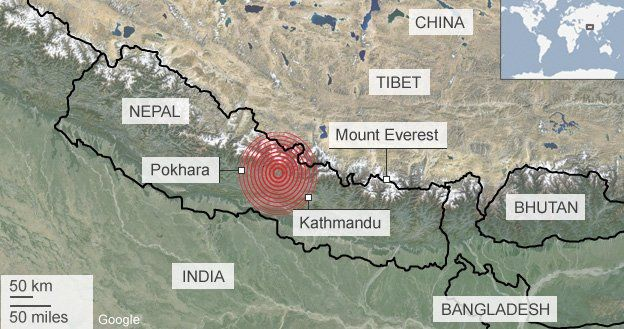 Nepal earthquake 2015 map